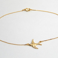Gold plated bird anklet, gold anklet, bird anklet, nature anklet, gold plated anklet, everyday anklet, shinny anklet, gift, ankle bracelet