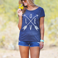 Cupids Arrow Top - Navy Blue