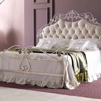 Double bed with upholstered headboard OLIMPIA by CorteZari