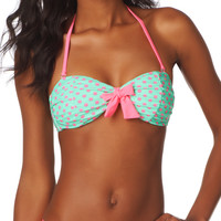 mint and pink dot bandeau swim top