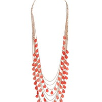 long draped coral bead necklace