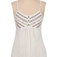 multi color embroidered tank
