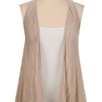 shadow stripe open front hacci vest