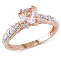 6.0mm Morganite and 1/5 CT. T.W. Diamond Promise Ring in Rose Rhodium Plated Sterling Silver - View All Rings - Zales