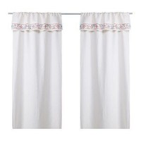 Ikea Birgit Ljuv Linien Blend Pair of Curtains, Ivory with Decorative Embroidered Border, 2 Panels