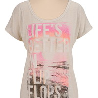 life's better in flip flops graphic tee