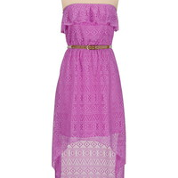 high-low belted lace dress