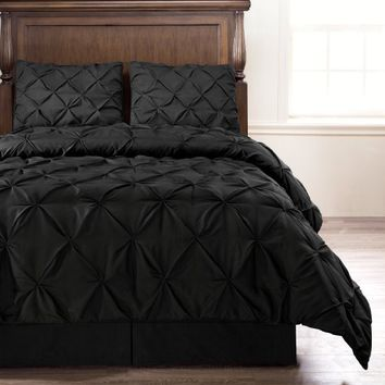 Emerson Black 4-Piece Pinch Pleat Puckering COMFORTER Mini Set FULL Size