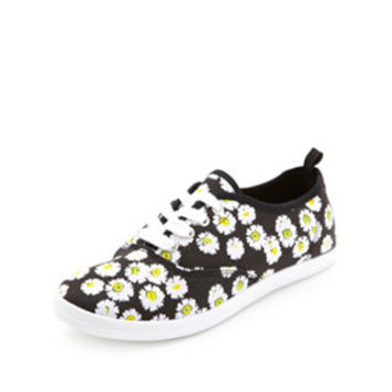 DAISY PRINT LACE-UP CANVAS SNEAKERS
