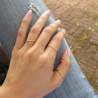 Set of 4- Thin Gold Plated Band Non tarnishing Rings - Midi, Dainty Wire wrap stack Rings / Trendy adjustable stacking layering