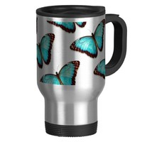 Blue Butterfly Print Coffee Cup