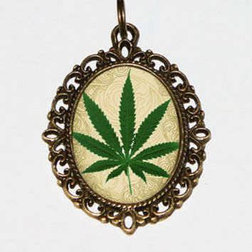 420 Hemp Leaf Oval Necklace