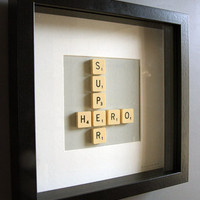 Brigitte Herrod - Scrabble SUPER HERO Picture - Black Frame