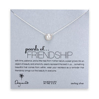 large pearls of friendship white pearl necklace, sterling silver - 18 inch
