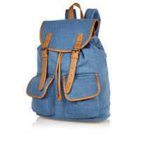 Denim Tan Trim Backpack