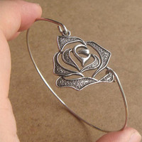 Rose Bangle Bracelet Simple Everyday Jewelry by silverglory