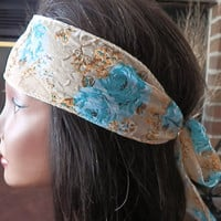 Bohemian Aqua Floral headband Reversible Flower Headband Beige with Flowers and Floral chiffon Hair Accessory for Girls Women Teens