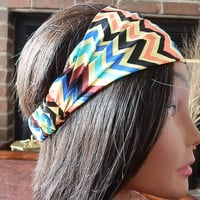 Aztec headband, Tribal Turband, Boho Chevron Print, Aztec Turband, Hair wrap, Yellow, Black, Aqua, Brown, Fabric Head Wrap with elastic back
