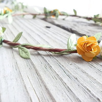 Yellow Boho Flower crown, Woodland Flower crown, Rustic Wedding floral Crow, Ivory Rose Crown, Wedding Flower Crown, Flower girl Head piece