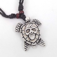 Folk White Turtle Luck Talisman Necklace