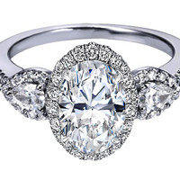 Engagement Ring - Oval Diamond Halo Engagement Ring Pear Shape Side Stones in 14K White Gold - ES1198DOV