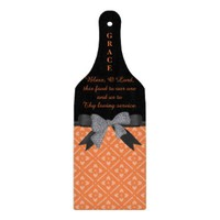 Personalize, Black & Orange Glass Cutting Board