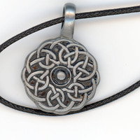Celtic Knot Antiqued Pewter Pendant with Woven Black by Lehane