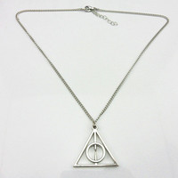 Jewelry silver metal Deathly Hallows triangle harry potter necklace men necklace women necklace boys necklace chain necklace XL-0005