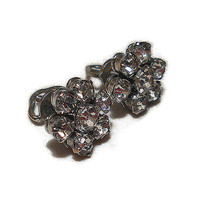 Silver Tone Small 11mm Vintage Rhinestone Threaded Screw Pierced Earrings