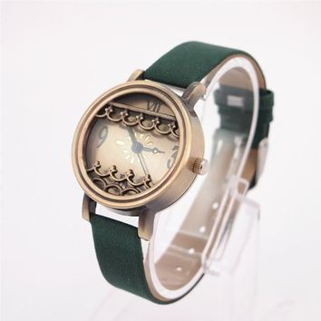 Magicpieces Green Cute Leather Watch with Wave on Top 45 DP 0412