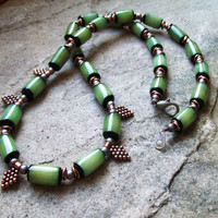 Green Buri Nut Necklace with Metal accents - Beaded Tribal Hippie Necklace