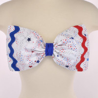 NEW PADDED USA Flag America Stars Glitter Patriotic Red Blue Bow Bandeau Top Women Fashion Handmade