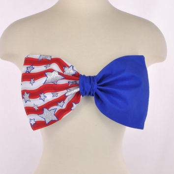NEW PADDED USA Flag America Stars Stripes Patriotic Red Blue Bow Bandeau Top Women Fashion Handmade