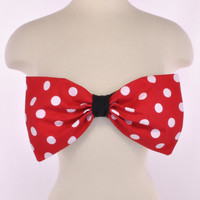 NEW PADDED Red White Polka Dot Minnie Mouse Bow Bandeau Top Women Fashion Handmade
