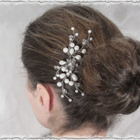 SPECIAL OFFER Vine pearl and crystal hair comb. Bridal, bridesmaid hair accessory