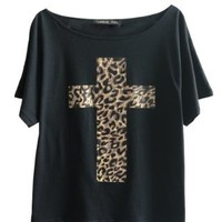 LookbookStore Women's Leopard Cross Print Baggy Cotton Tee