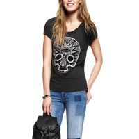 New Sinful Black Skull Shirt Goth Biker Short Sleeve Blouse Top Womens M A05