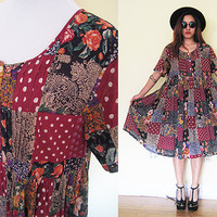 Vintage patchwork floral flower hippie boho bohemian pleated wrinkle indian india oversized red maroon babydoll maxi