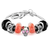 Halloween Skull Spider Ghost Black Red Murano Glass Set Heart Love Beaded Bracelet Fit All Brands, Bracelets, Beads Bracelets | Pugster.com