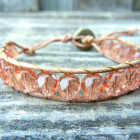 Beaded Leather Single Wrap Bracelet Stackable with Peach Coral Pink Czech Glass Beads on Natural Tan Leather Spring Summer