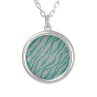 Teal and Grey Zebra Stripe Print Gifts