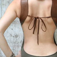 Brown leather shoulder inset olive green tank top, festival wear