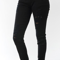 Bramuda Black High Waisted Destroyed Denim Jean | Bloody-Fabulous
