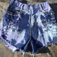 Purple Tie Dye Shorts Frayed Distressed Cut Offs Size 26 by twazzy