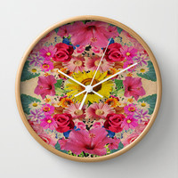 VINTAGE SPRING Wall Clock by Nika | Society6