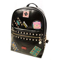 Trendy Metallic Studded Rivets Patches School Shoulder Bag Backpack