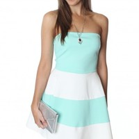 Stripe Flare Dress Mint