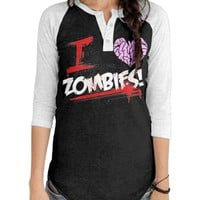 "Women's ""I Heart Zombies!"" Raglan Tee by Goodie Two Sleeves (Black/White)"