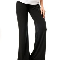 A Pea in the Pod: Inner Bliss Fold Over Belly Jersey Knit Wide Leg Maternity Active Pants