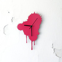 Ink Splatter. Modern Wall Clock. Pink Wall Clock. Living Room Decor. Rustic home.
